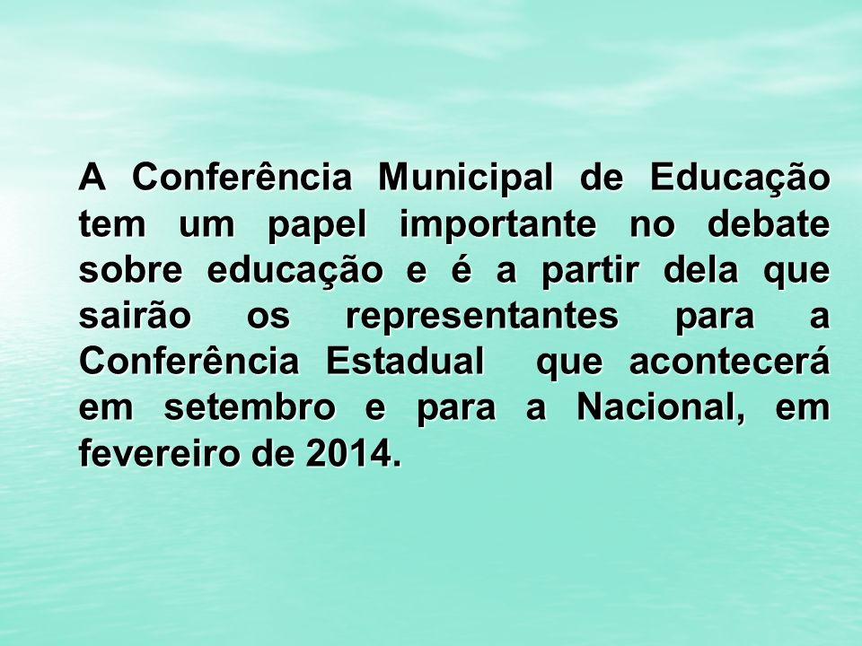 A Conferência Municipal de Educação tem um papel importante no debate sobre educação e é a partir dela que sairão os representantes para a Conferência