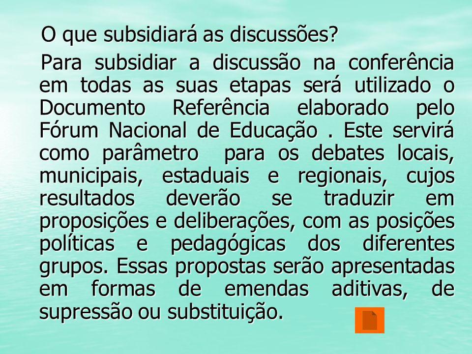 O que subsidiará as discussões? O que subsidiará as discussões? Para subsidiar a discussão na conferência em todas as suas etapas será utilizado o Doc