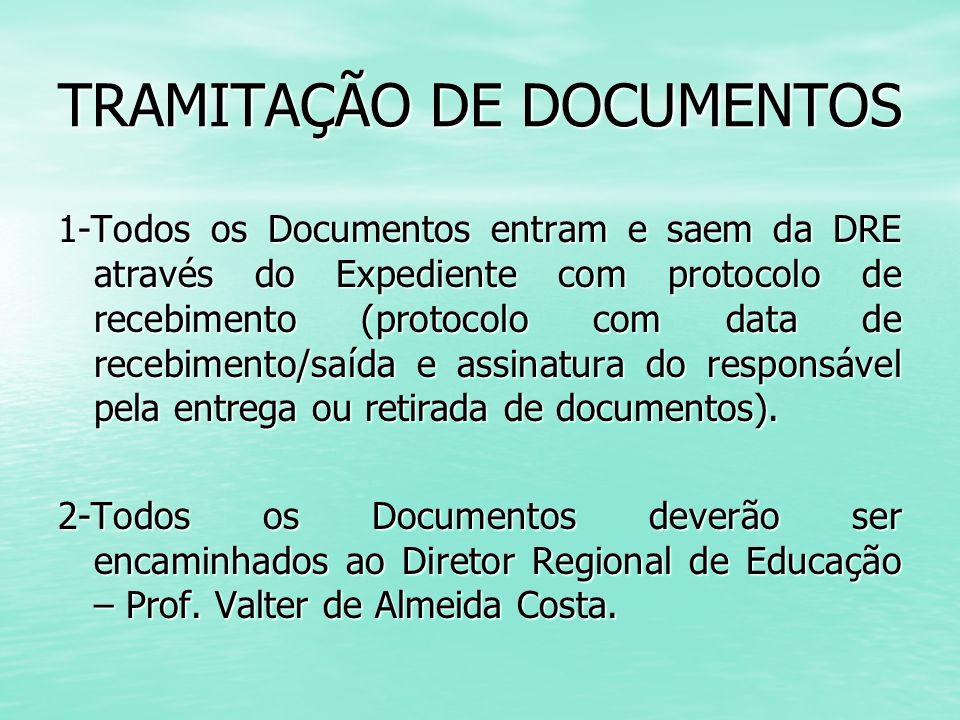 TRAMITAÇÃO DE DOCUMENTOS 1-Todos os Documentos entram e saem da DRE através do Expediente com protocolo de recebimento (protocolo com data de recebime