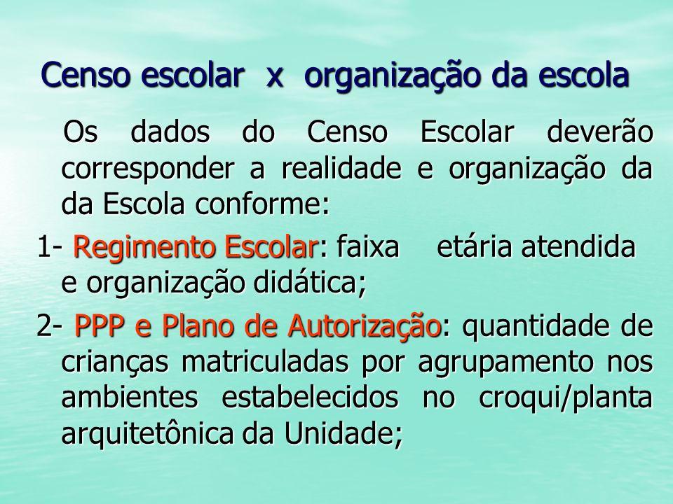 Censo escolar x organização da escola Os dados do Censo Escolar deverão corresponder a realidade e organização da da Escola conforme: Os dados do Cens