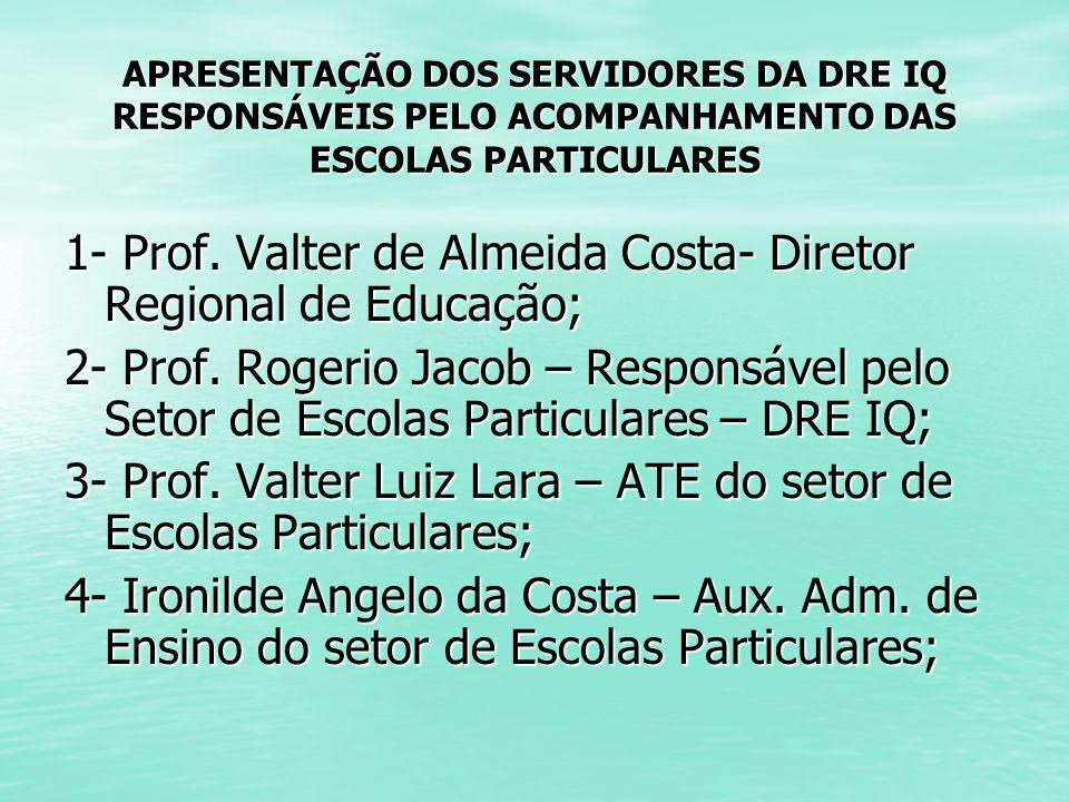 APRESENTAÇÃO DOS SERVIDORES DA DRE IQ RESPONSÁVEIS PELO ACOMPANHAMENTO DAS ESCOLAS PARTICULARES 1- Prof. Valter de Almeida Costa- Diretor Regional de