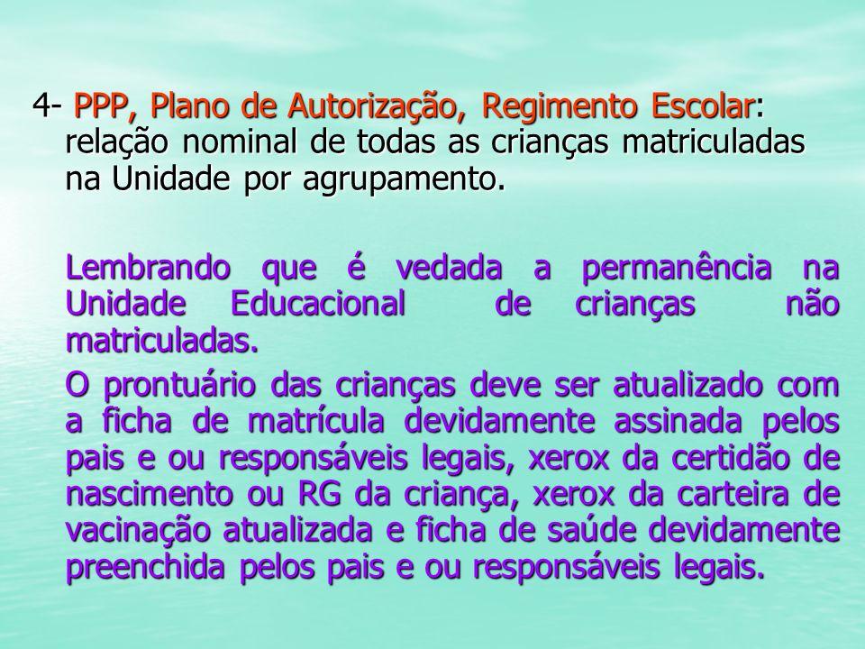 4- PPP, Plano de Autorização, Regimento Escolar: relação nominal de todas as crianças matriculadas na Unidade por agrupamento. Lembrando que é vedada