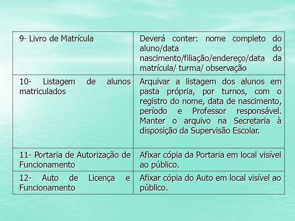 9- Livro de Matrícula Deverá conter: nome completo do aluno/data do nascimento/filiação/endereço/data da matrícula/ turma/ observação 10- Listagem de