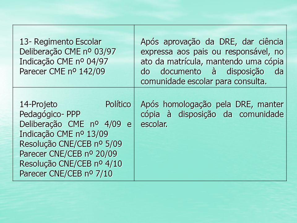 13- Regimento Escolar Deliberação CME nº 03/97 Indicação CME nº 04/97 Parecer CME nº 142/09 Após aprovação da DRE, dar ciência expressa aos pais ou re