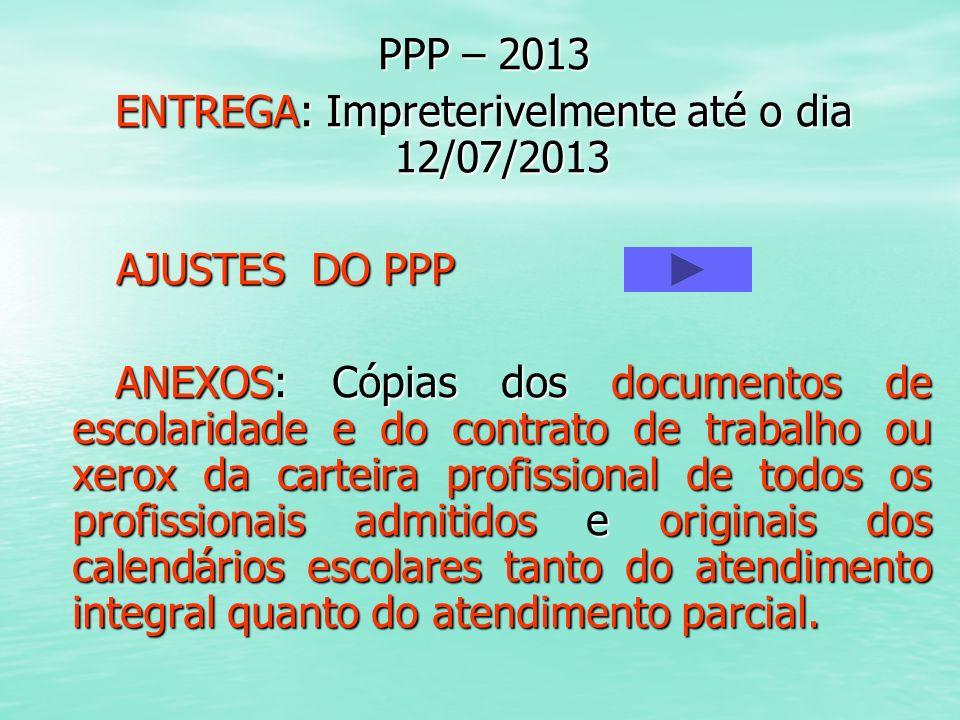 PPP – 2013 ENTREGA: Impreterivelmente até o dia 12/07/2013 AJUSTES DO PPP AJUSTES DO PPP ANEXOS: Cópias dos documentos de escolaridade e do contrato d