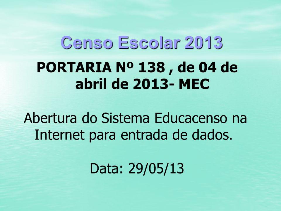 Censo Escolar 2013 PORTARIA Nº 138, de 04 de abril de 2013- MEC Abertura do Sistema Educacenso na Internet para entrada de dados. Data: 29/05/13