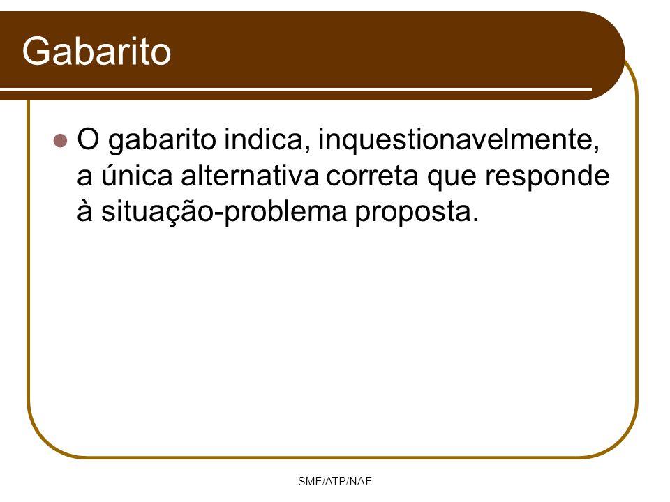 SME/ATP/NAE Gabarito O gabarito indica, inquestionavelmente, a única alternativa correta que responde à situação-problema proposta.