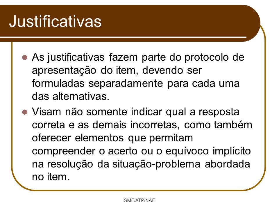 SME/ATP/NAE Justificativas As justificativas fazem parte do protocolo de apresentação do item, devendo ser formuladas separadamente para cada uma das