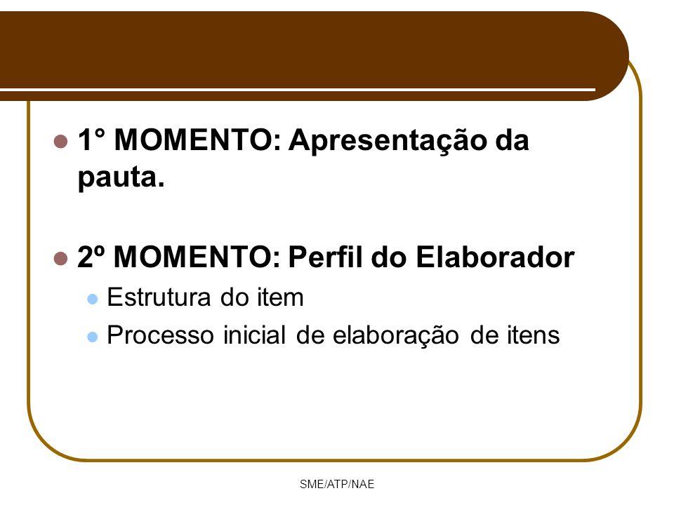 SME/ATP/NAE 1° MOMENTO: Apresentação da pauta. 2º MOMENTO: Perfil do Elaborador Estrutura do item Processo inicial de elaboração de itens