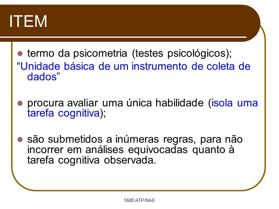 SME/ATP/NAE ITEM termo da psicometria (testes psicológicos); Unidade básica de um instrumento de coleta de dados procura avaliar uma única habilidade