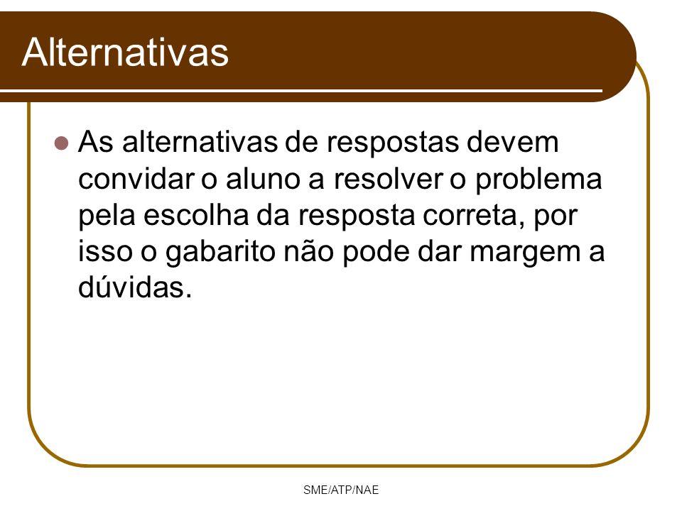 SME/ATP/NAE Alternativas As alternativas de respostas devem convidar o aluno a resolver o problema pela escolha da resposta correta, por isso o gabari