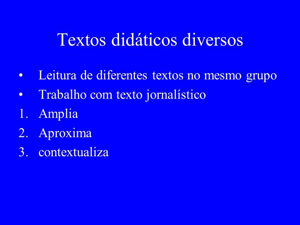Textos didáticos diversos Leitura de diferentes textos no mesmo grupo Trabalho com texto jornalístico 1.Amplia 2.Aproxima 3.contextualiza