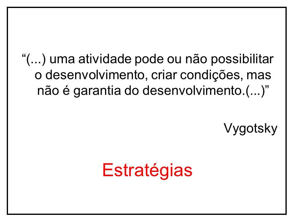 (...) uma atividade pode ou não possibilitar o desenvolvimento, criar condições, mas não é garantia do desenvolvimento.(...) Vygotsky Estratégias