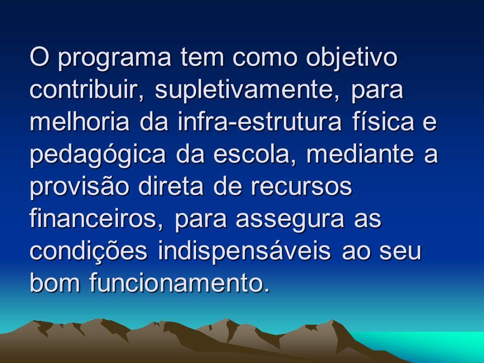 Objetivo do Programa O programa tem como objetivo contribuir, supletivamente, para melhoria da infra-estrutura física e pedagógica da escola, mediante