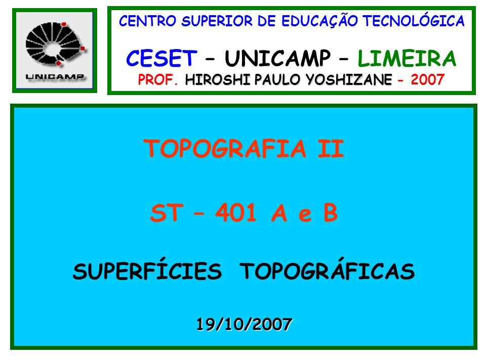 CENTRO SUPERIOR DE EDUCAÇÃO TECNOLÓGICA CESET – UNICAMP – LIMEIRA HIROSHI PAULO YOSHIZANE PROF. HIROSHI PAULO YOSHIZANE - 2007 TOPOGRAFIA II ST – 401