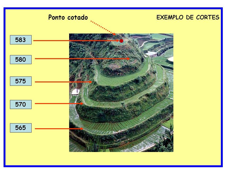 EXEMPLO DE CORTES 570 575 580 583 565 Ponto cotado