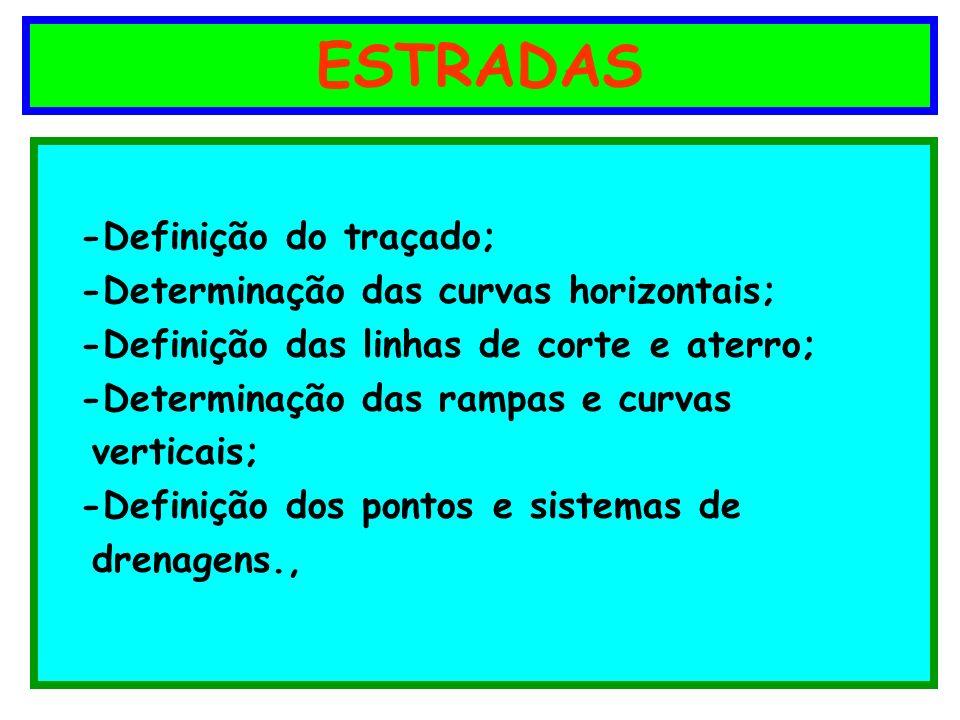 ESTRADAS -Definição do traçado; -Determinação das curvas horizontais; -Definição das linhas de corte e aterro; -Determinação das rampas e curvas verti