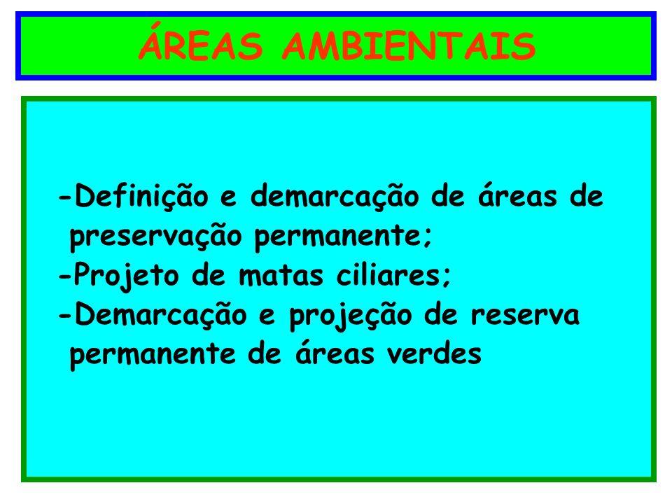 ÁREAS AMBIENTAIS -Definição e demarcação de áreas de preservação permanente; -Projeto de matas ciliares; -Demarcação e projeção de reserva permanente