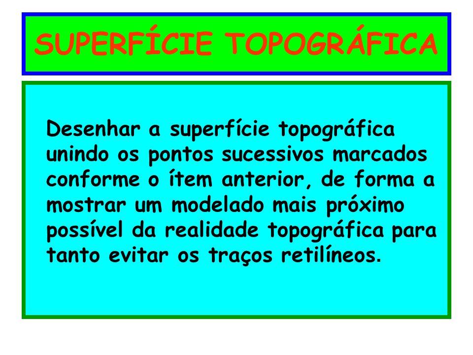 SUPERFÍCIE TOPOGRÁFICA Desenhar a superfície topográfica unindo os pontos sucessivos marcados conforme o ítem anterior, de forma a mostrar um modelado