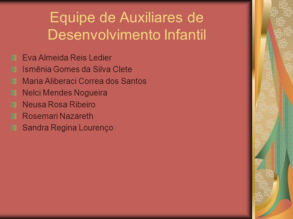 Equipe de Auxiliares de Desenvolvimento Infantil Eva Almeida Reis Ledier Ismênia Gomes da Silva Clete Maria Aliberaci Correa dos Santos Nelci Mendes N