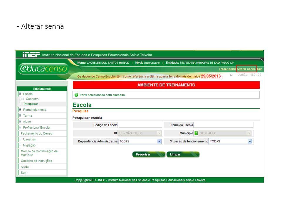 - Para consultar os vínculos do profissional escolar, preencher os dados e clicar em Pesquisar.