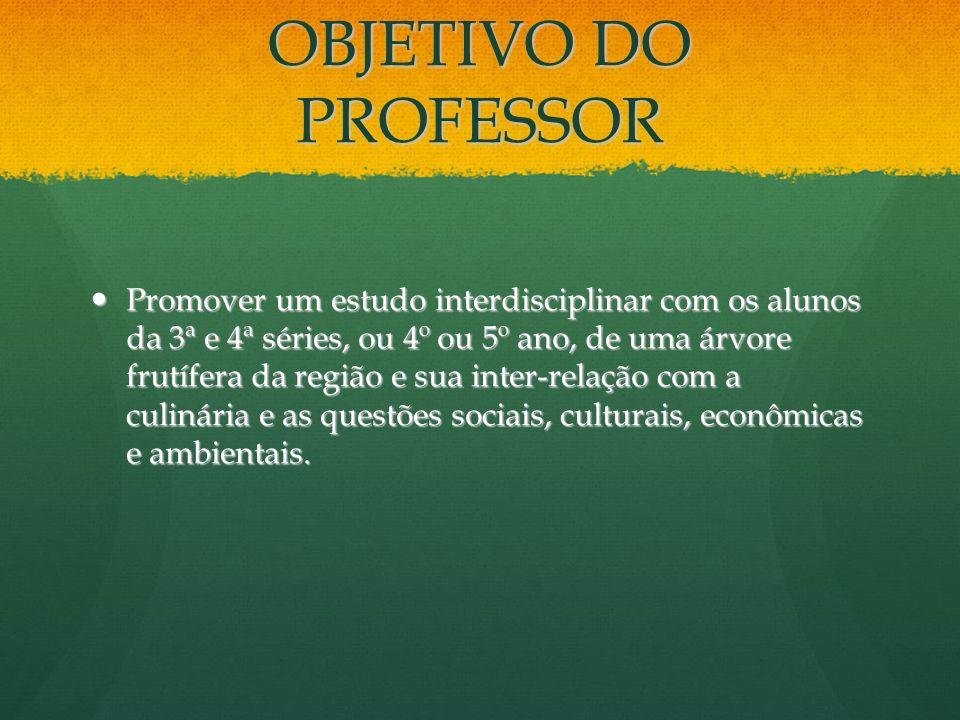 OBJETIVO DO PROFESSOR Promover um estudo interdisciplinar com os alunos da 3ª e 4ª séries, ou 4º ou 5º ano, de uma árvore frutífera da região e sua in