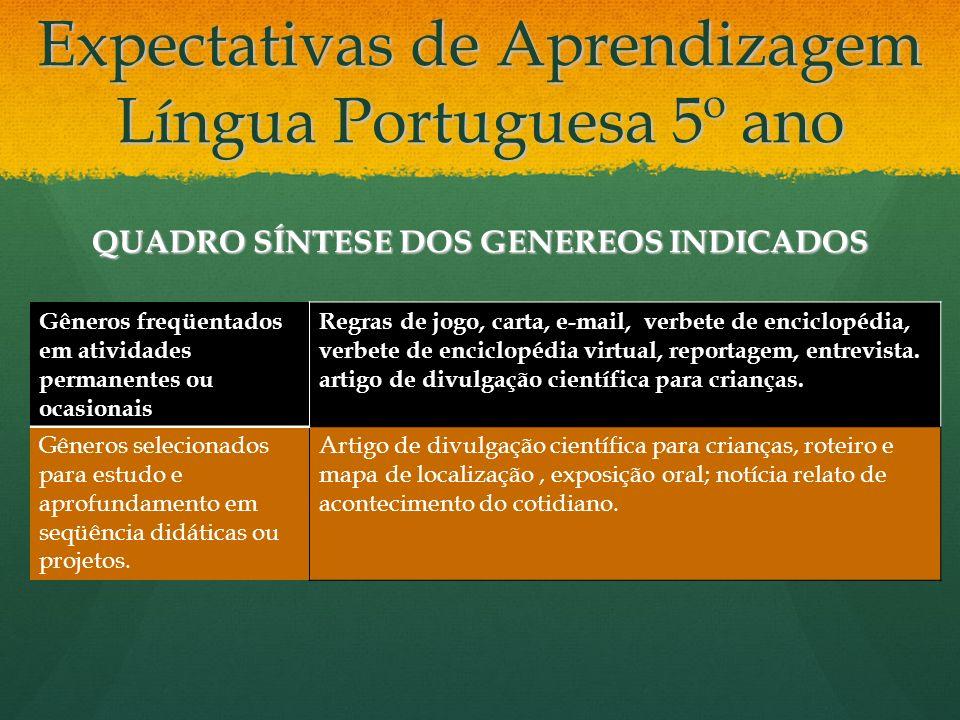 Expectativas de Aprendizagem Língua Portuguesa 5º ano QUADRO SÍNTESE DOS GENEREOS INDICADOS Gêneros freqüentados em atividades permanentes ou ocasiona