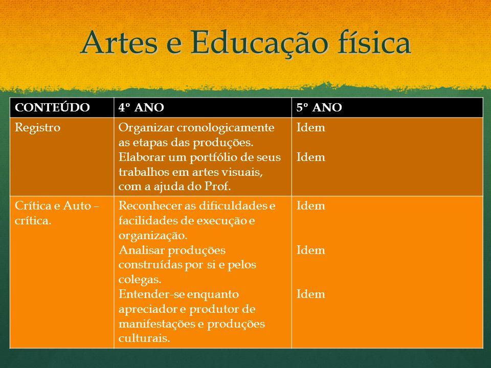 Artes e Educação física CONTEÚDO4º ANO5º ANO RegistroOrganizar cronologicamente as etapas das produções. Elaborar um portfólio de seus trabalhos em ar