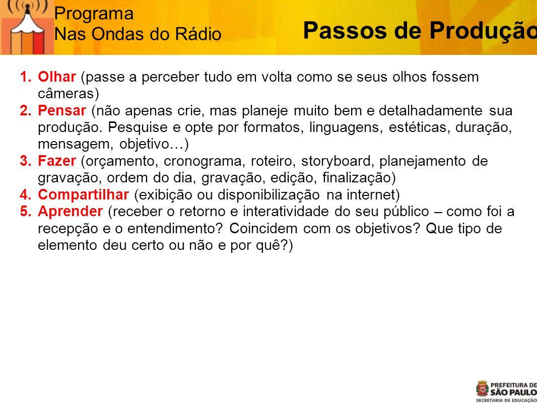 Programa Nas Ondas do Rádio Passos de Produção 1.Olhar (passe a perceber tudo em volta como se seus olhos fossem câmeras) 2.Pensar (não apenas crie, m