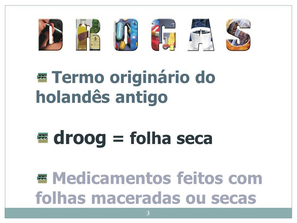 3 Termo originário do holandês antigo droog = folha seca Medicamentos feitos com folhas maceradas ou secas 3