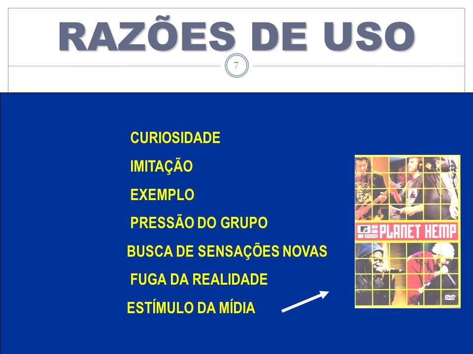 LACO 7 RAZÕES DE USO CURIOSIDADE IMITAÇÃO EXEMPLO PRESSÃO DO GRUPO BUSCA DE SENSAÇÕES NOVAS FUGA DA REALIDADE ESTÍMULO DA MÍDIA 7