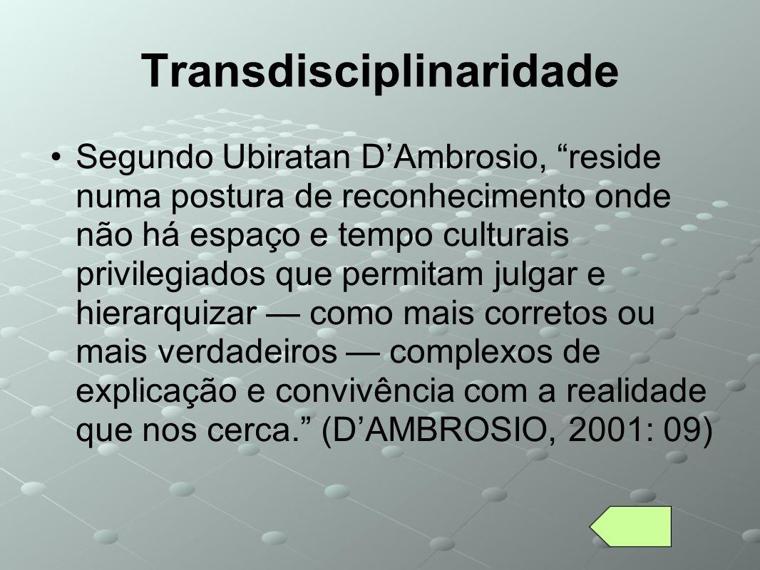 Transdisciplinaridade Segundo Ubiratan DAmbrosio, reside numa postura de reconhecimento onde não há espaço e tempo culturais privilegiados que permita