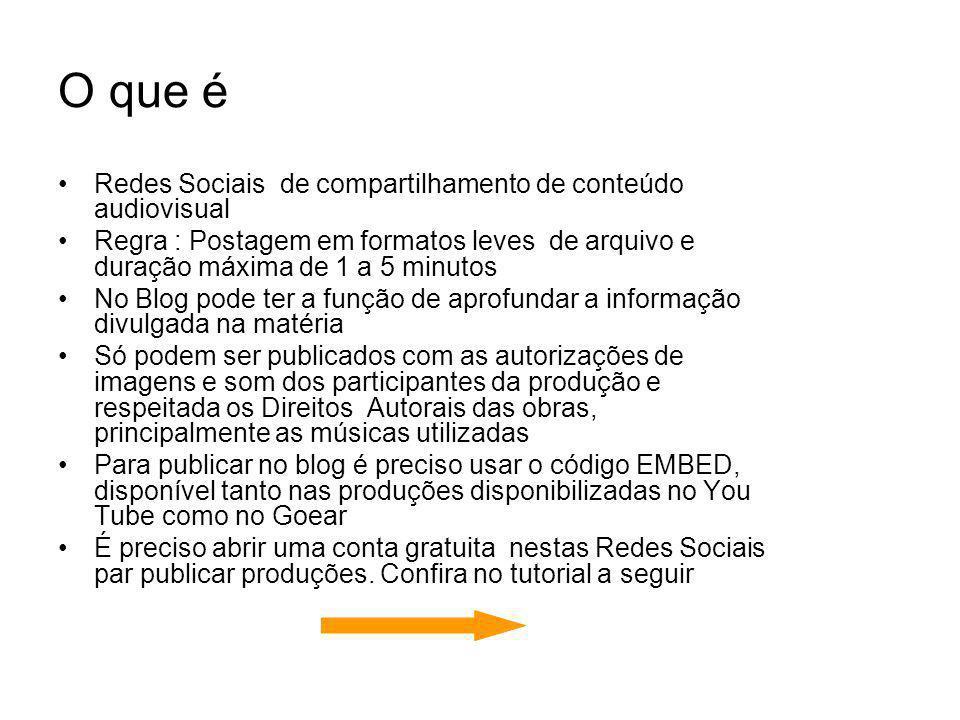 O que é Redes Sociais de compartilhamento de conteúdo audiovisual Regra : Postagem em formatos leves de arquivo e duração máxima de 1 a 5 minutos No B