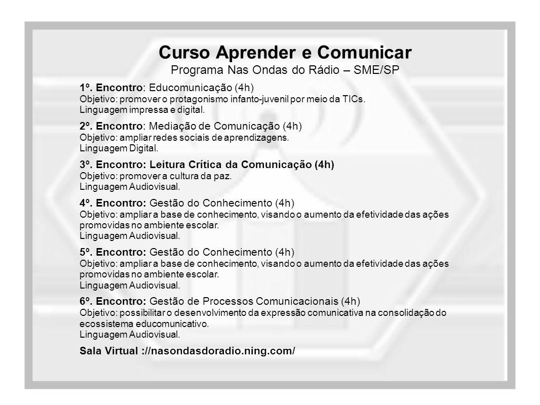 Curso Aprender e Comunicar Programa Nas Ondas do Rádio – SME/SP 1º. Encontro: Educomunicação (4h) Objetivo: promover o protagonismo infanto-juvenil po
