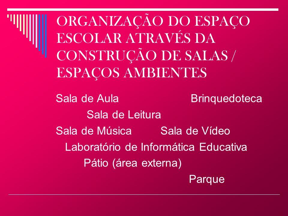 ORGANIZAÇÃO DO ESPAÇO ESCOLAR ATRAVÉS DA CONSTRUÇÃO DE SALAS / ESPAÇOS AMBIENTES Sala de Aula Brinquedoteca Sala de Leitura Sala de Música Sala de Víd