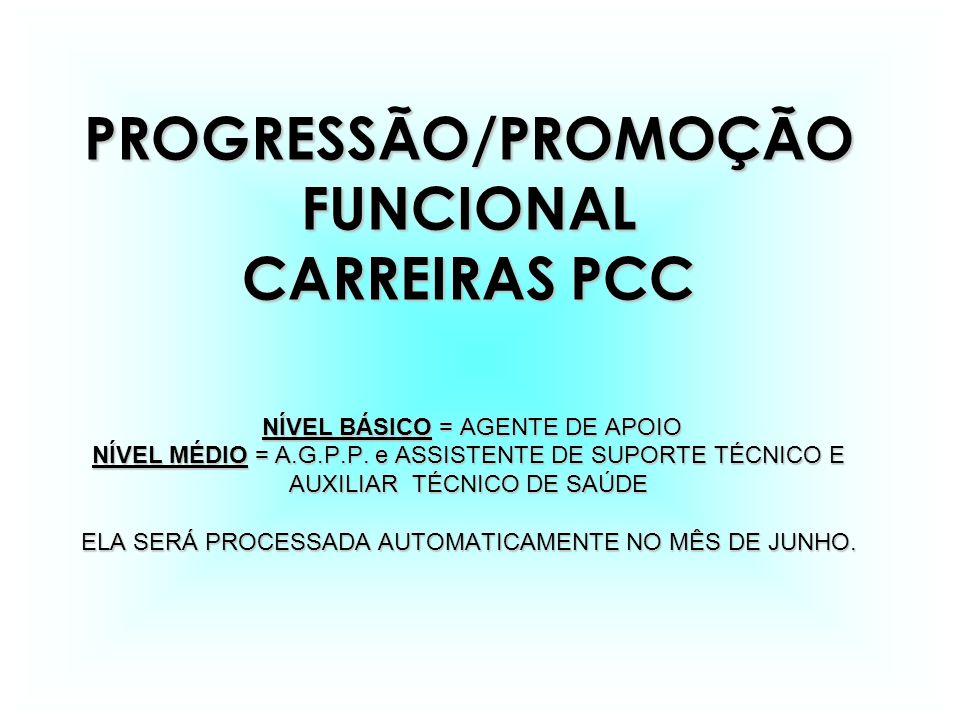 PROGRESSÃO/PROMOÇÃOFUNCIONAL CARREIRAS PCC NÍVEL BÁSICO = AGENTE DE APOIO NÍVEL BÁSICO = AGENTE DE APOIO NÍVEL MÉDIO = A.G.P.P.