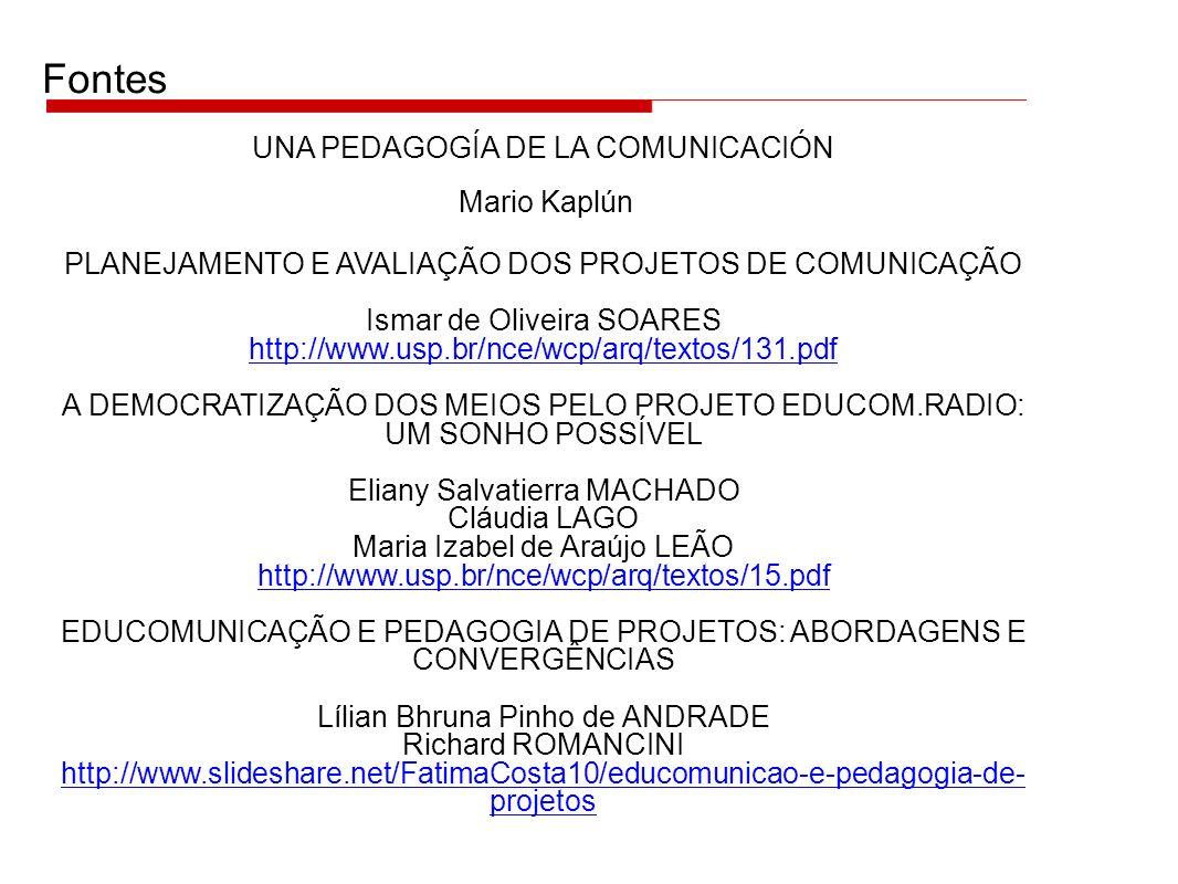 PLANEJAMENTO E AVALIAÇÃO DOS PROJETOS DE COMUNICAÇÃO Ismar de Oliveira SOARES http://www.usp.br/nce/wcp/arq/textos/131.pdf http://www.usp.br/nce/wcp/a