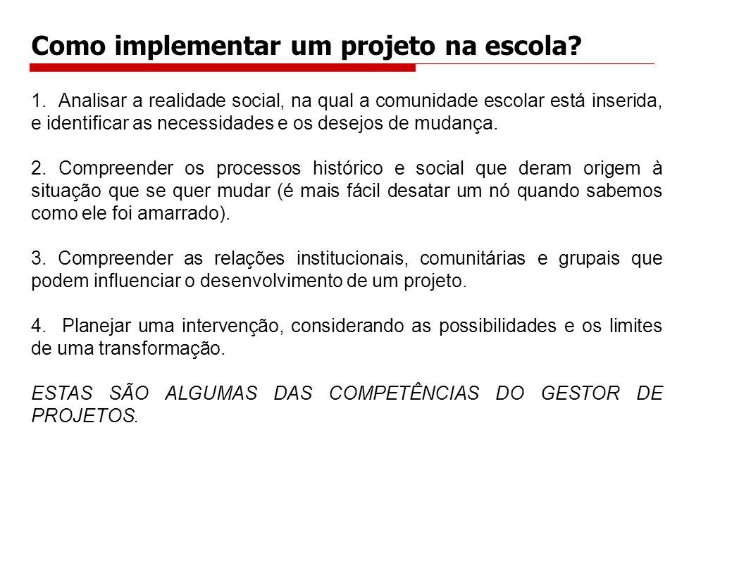 Como implementar um projeto na escola? 1. Analisar a realidade social, na qual a comunidade escolar está inserida, e identificar as necessidades e os