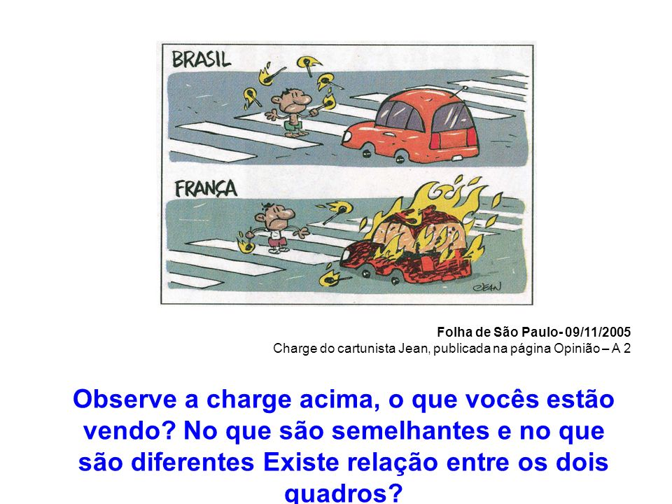 Folha de São Paulo- 09/11/2005 Charge do cartunista Jean, publicada na página Opinião – A 2 Observe a charge acima, o que vocês estão vendo? No que sã
