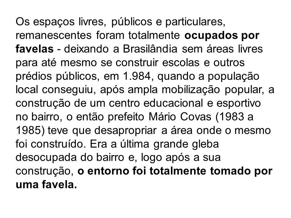 Os espaços livres, públicos e particulares, remanescentes foram totalmente ocupados por favelas - deixando a Brasilândia sem áreas livres para até mes