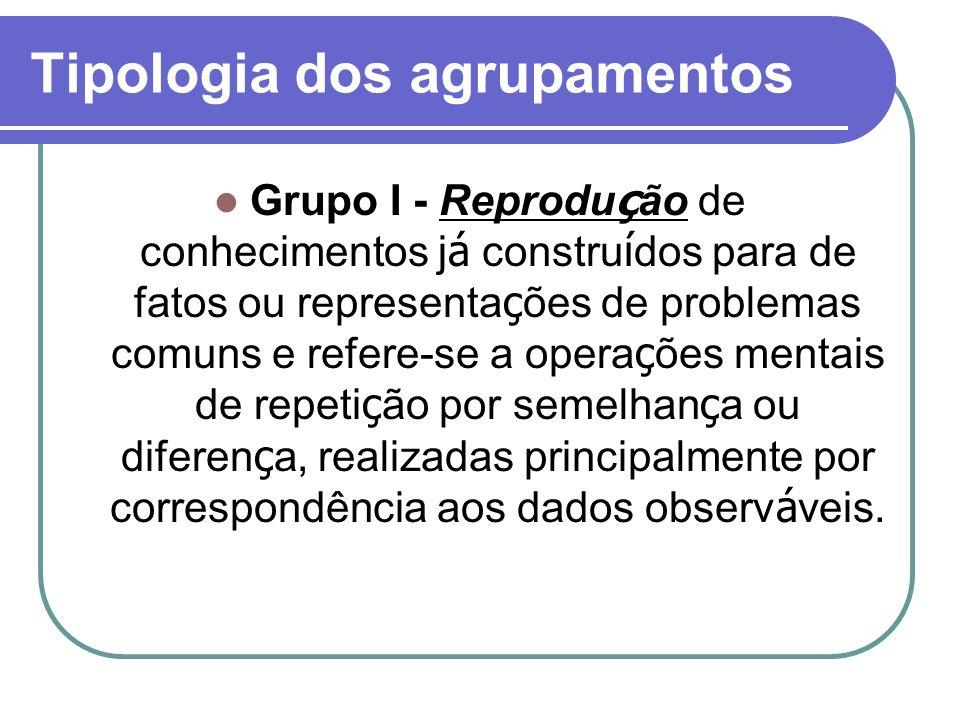 Tipologia dos agrupamentos Grupo I - Reprodu ç ão de conhecimentos j á constru í dos para de fatos ou representa ç ões de problemas comuns e refere-se