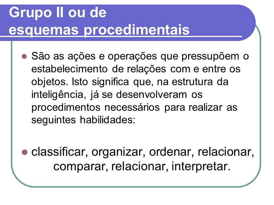 Grupo II ou de esquemas procedimentais São as ações e operações que pressupõem o estabelecimento de relações com e entre os objetos. Isto significa qu