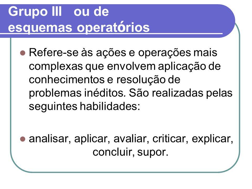 Grupo III ou de esquemas operat ó rios Refere-se às ações e operações mais complexas que envolvem aplicação de conhecimentos e resolução de problemas