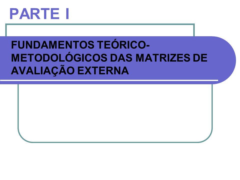 PARTE I FUNDAMENTOS TEÓRICO- METODOLÓGICOS DAS MATRIZES DE AVALIAÇÃO EXTERNA