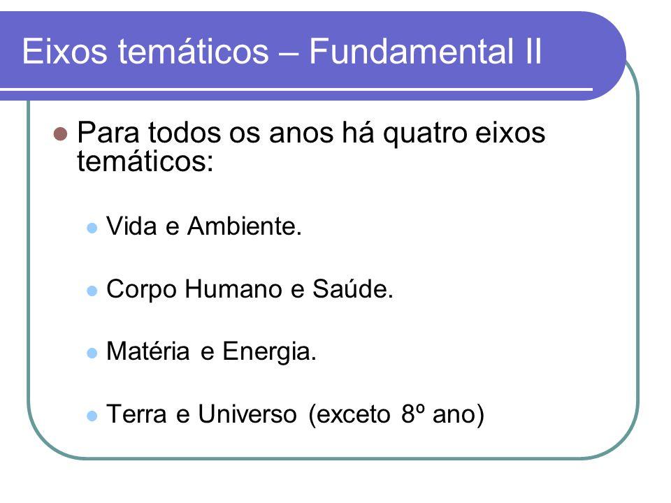 Eixos temáticos – Fundamental II Para todos os anos há quatro eixos temáticos: Vida e Ambiente. Corpo Humano e Saúde. Matéria e Energia. Terra e Unive