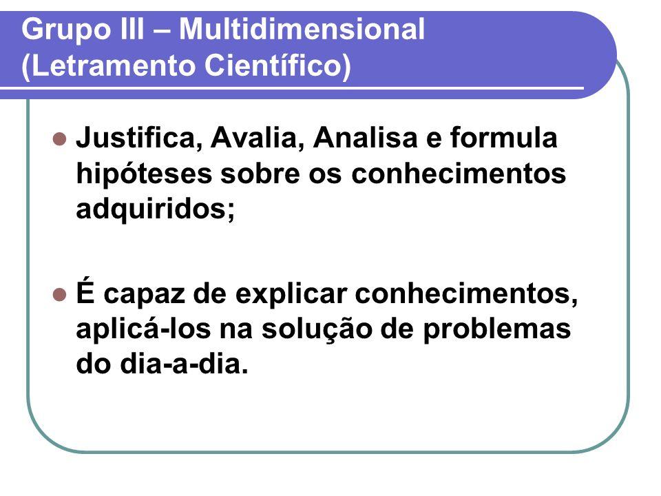 Grupo III – Multidimensional (Letramento Científico) Justifica, Avalia, Analisa e formula hipóteses sobre os conhecimentos adquiridos; É capaz de expl