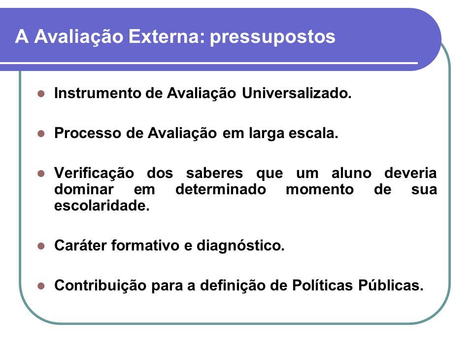 A Avaliação Externa: pressupostos Instrumento de Avaliação Universalizado. Processo de Avaliação em larga escala. Verificação dos saberes que um aluno