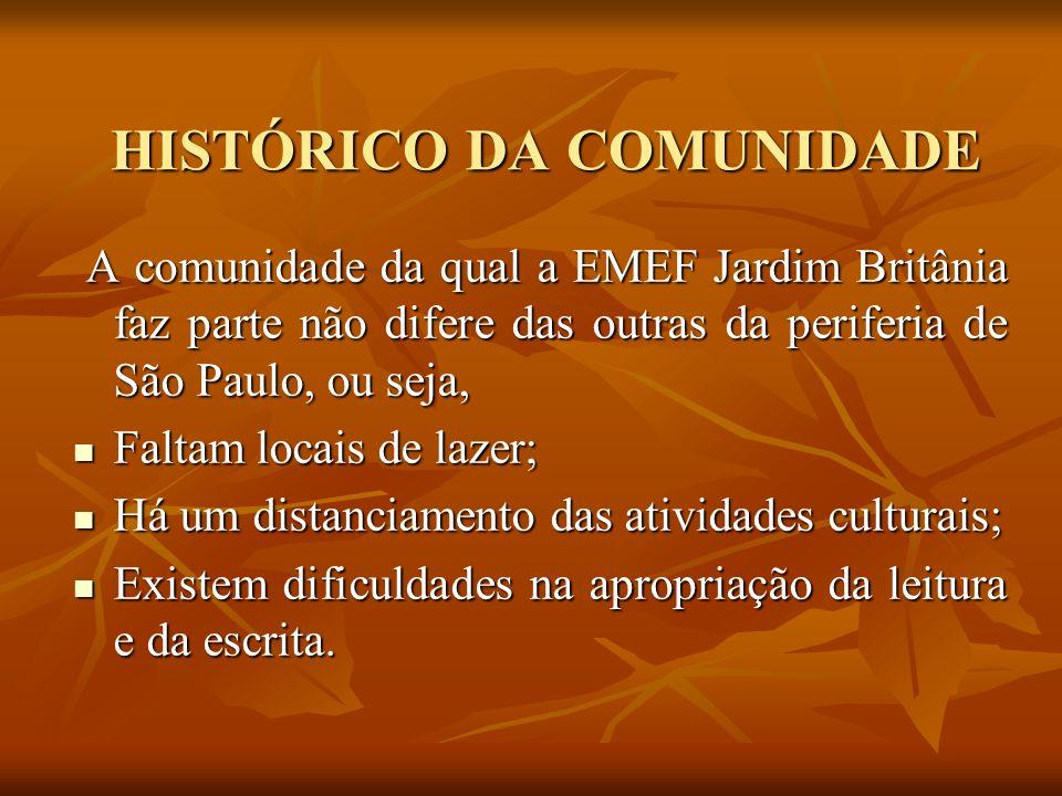 HISTÓRICO DA COMUNIDADE HISTÓRICO DA COMUNIDADE A comunidade da qual a EMEF Jardim Britânia faz parte não difere das outras da periferia de São Paulo,