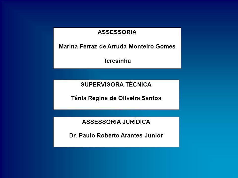 ASSESSORIA Marina Ferraz de Arruda Monteiro Gomes Teresinha SUPERVISORA TÉCNICA Tânia Regina de Oliveira Santos ASSESSORIA JURÍDICA Dr. Paulo Roberto