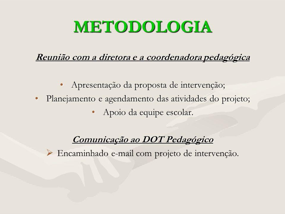 METODOLOGIA Reunião com a diretora e a coordenadora pedagógica Apresentação da proposta de intervenção;Apresentação da proposta de intervenção; Planej